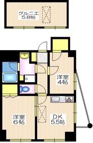 ソレイユ田園4階Fの間取り画像