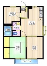 エステートピアハトリ2階Fの間取り画像