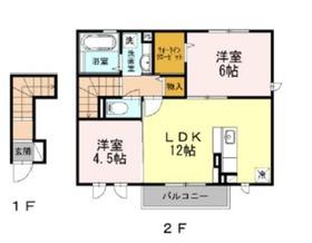 メゾン楓Ⅱ2階Fの間取り画像