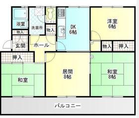港南台ひばり団地21号棟3階Fの間取り画像