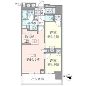 アルファグランデ千桜タワー21階Fの間取り画像