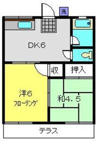 ハイツアライA棟1階Fの間取り画像