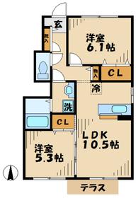 ビューテラス平井A1階Fの間取り画像