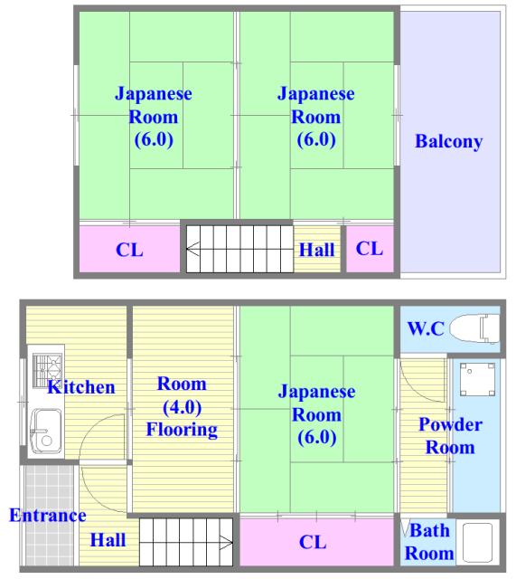 御厨栄町2丁目貸家 セパレートで和室もありファミリータイプにはおススメの間取です。