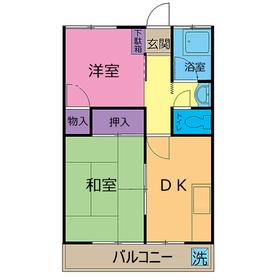 中宿レジデンスA棟2階Fの間取り画像