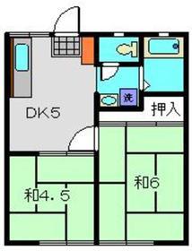 綿貫ハイツA2階Fの間取り画像