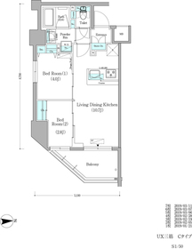 アーバネックス蔵前9階Fの間取り画像
