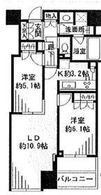 大崎ウエストシティタワーズ ウエスト10階Fの間取り画像