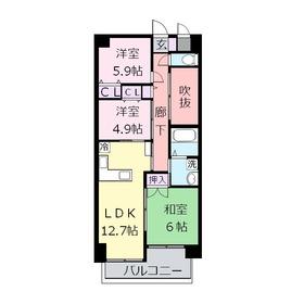 レクセルコスモ3階Fの間取り画像