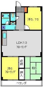 セゾンドカサハラⅠ2階Fの間取り画像