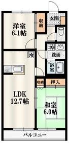矢川駅 徒歩4分2階Fの間取り画像