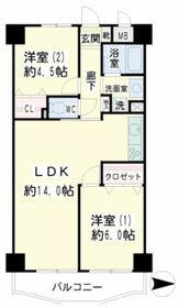 武蔵溝ノ口駅 徒歩31分2階Fの間取り画像