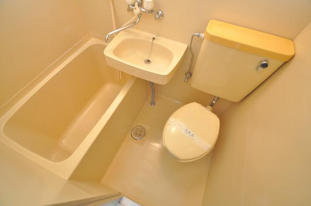 東大阪市足代北1丁目の賃貸マンション ちょうどいいサイズのお風呂です。お掃除も楽にできますよ。