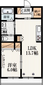 (シニア限定)ルラーシュ白鷺1階Fの間取り画像