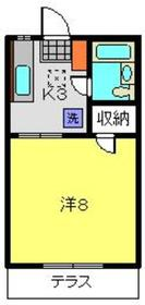 ハイツニシムラ1階Fの間取り画像