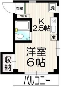 カーササカモトⅡ2階Fの間取り画像