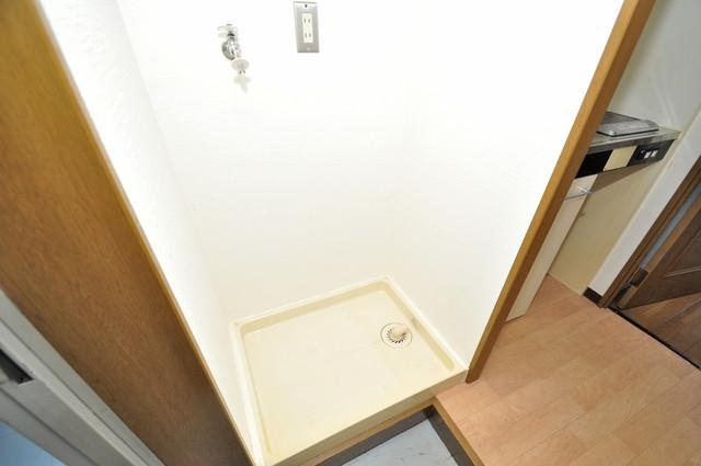 リンクスイン東大阪Part2 嬉しい室内洗濯機置場。これで洗濯機も長持ちしますね。
