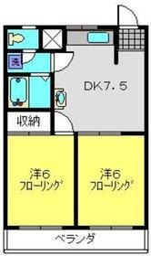 竹園ハイツ2階Fの間取り画像
