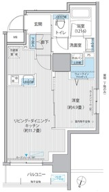 グラン,フォークス神田イーストタワー9階Fの間取り画像