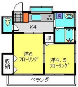 ハイツアイ2階Fの間取り画像