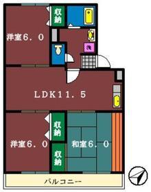 グランメール・タクボ1階Fの間取り画像
