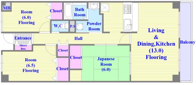 ベルビュー セパレートで和室もありファミリータイプにはおススメの間取です。