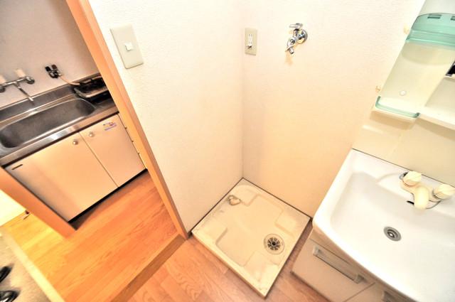 サニーハイム上小阪 洗濯機置場が室内にあると本当に助かりますよね。