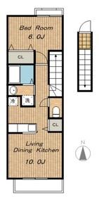 ラ・カーサB2階Fの間取り画像