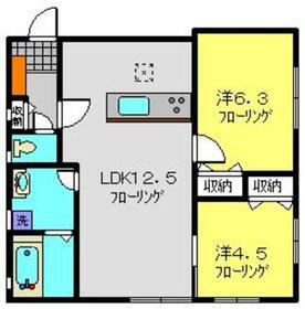 サニーウェル本宿V1階Fの間取り画像