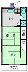 渡辺荘1階Fの間取り画像