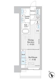 ライオンズフォーシア築地ステーション6階Fの間取り画像