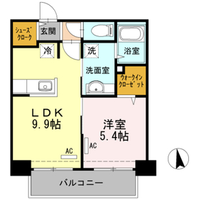 Haleakala岡本3階Fの間取り画像