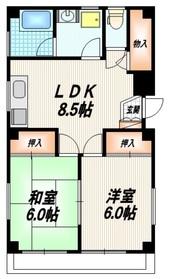 田村コーポ2階Fの間取り画像