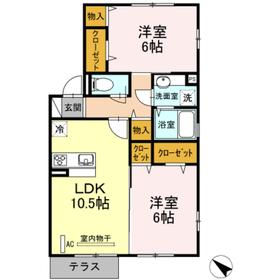 ラークヒル1階Fの間取り画像