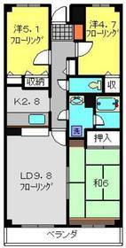 武蔵新城駅 徒歩10分2階Fの間取り画像