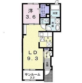 メゾン ド ルミエール1階Fの間取り画像