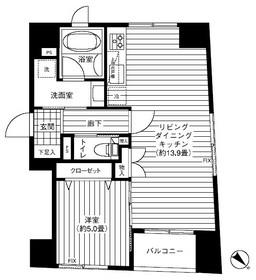 クロスフォー築地5階Fの間取り画像