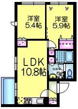 メゾンクレール2階Fの間取り画像