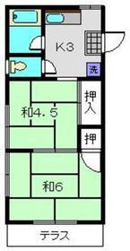 コーポ井戸2階Fの間取り画像