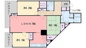 百道タワー9階Fの間取り画像