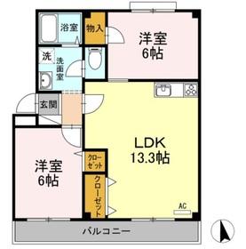 小野マンション2階Fの間取り画像