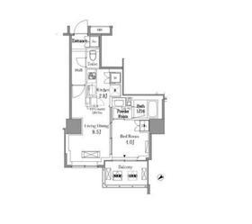 レジディアタワー目黒不動前4階Fの間取り画像