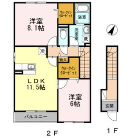 ヴィラボナールI2階Fの間取り画像