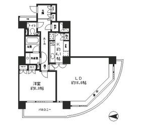 リバーポイントタワー21階Fの間取り画像