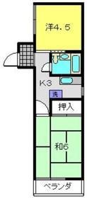 ヒラタハイツ2階Fの間取り画像