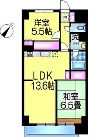 千葉グランドハイツ2階Fの間取り画像