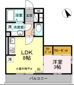 ハイム羽沢十番館2階Fの間取り画像