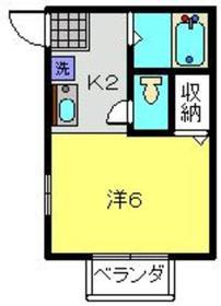 トップヒルズⅢ1階Fの間取り画像
