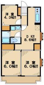 第1かしの木ハイツ2階Fの間取り画像