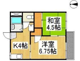 幸運マンション 2号棟2階Fの間取り画像